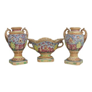 Mid 20th Century Hinode Japan Cherubs Ceramic Centerpiece Planter Bowl and Vases - Set of 3 For Sale