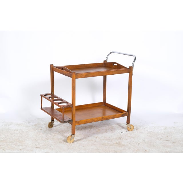 Mid-Century Wooden Bar Cart For Sale - Image 11 of 11