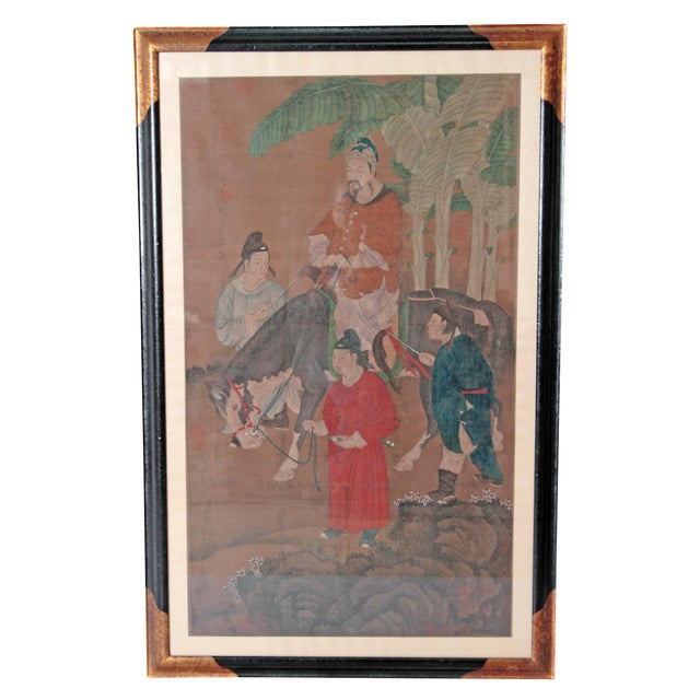Chinese Scroll Painting of a Dignitary on Horseback For Sale