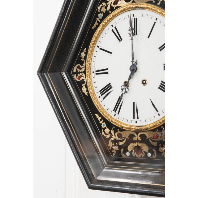19th Century French Boulle-Inlaid Hexagonal Wall Clock For Sale - Image 4 of 8