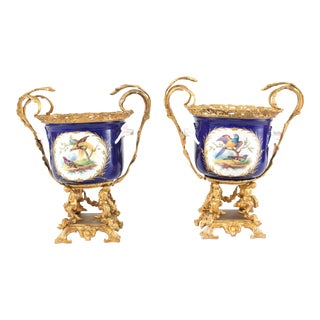 Early 20th Century French Gilt Bronze Mounted / Porcelain Urns / Vases - a Pair For Sale