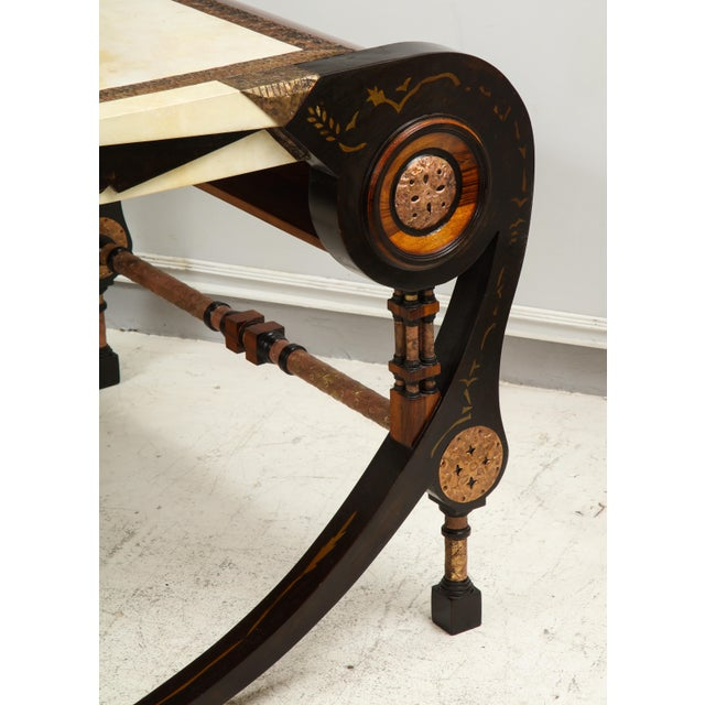 1990s Carlo Bugatti-Style Writing Desk with Chair For Sale - Image 5 of 12