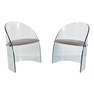 1970s Glass Chairs in the Manner of Louis Dierra - a Pair For Sale