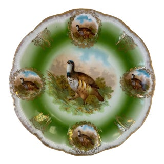 German Game Plate With Gilt Trim For Sale