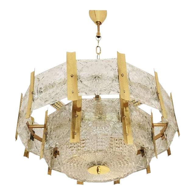 Mid-Century Brass Chandelier, 1960s For Sale