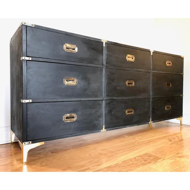 1960s Campaign Carlton House Triple Dresser For Sale - Image 9 of 9