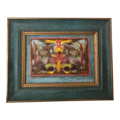 Mid-Century Abstract Painting Signed by Dimitri For Sale