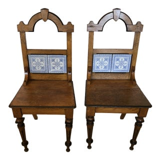 French Oak and Tile Arts and Crafts Side Chairs -A Pair For Sale