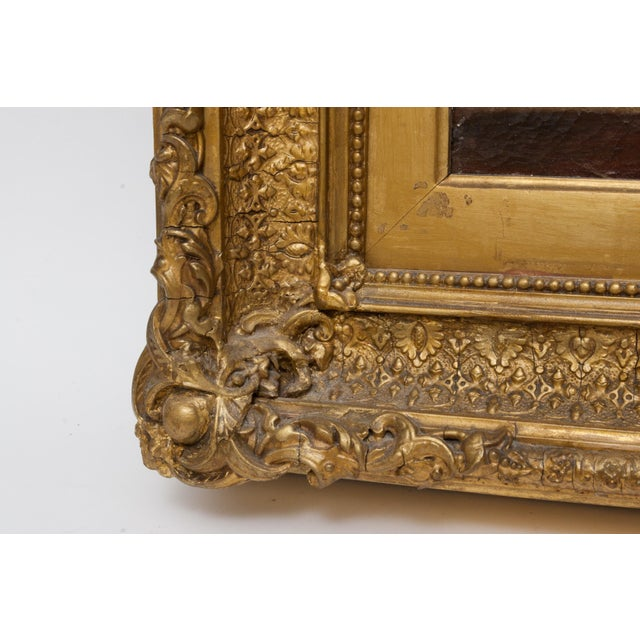 Realism 19th Century Floral Still Life Oil Painting Set in Ornate Gold Frame For Sale - Image 3 of 9