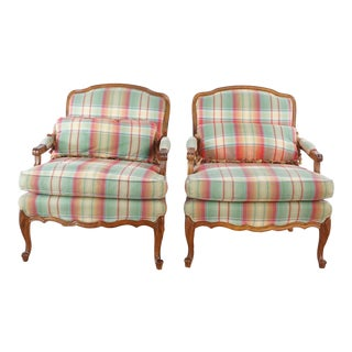Plaid Upholstered Armchairs- A Pair For Sale