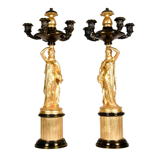 Antique French Five Arms Bronze and Porcelain Candelabras - a Pair For Sale