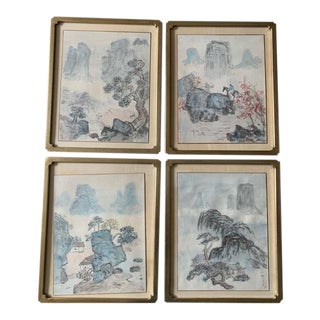 Early 20th Century Antique Landscape Watercolor Paintings - Set of 4 For Sale