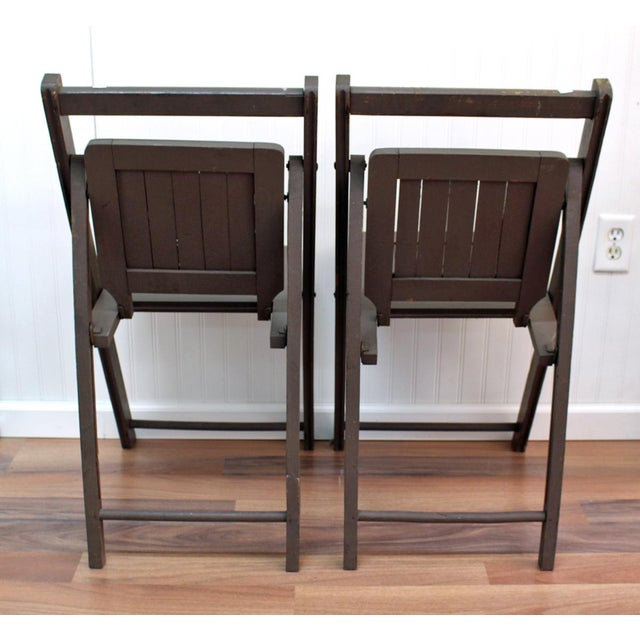 Antique Dark Taupe Painted Folding Chairs - Pair - Image 4 of 8