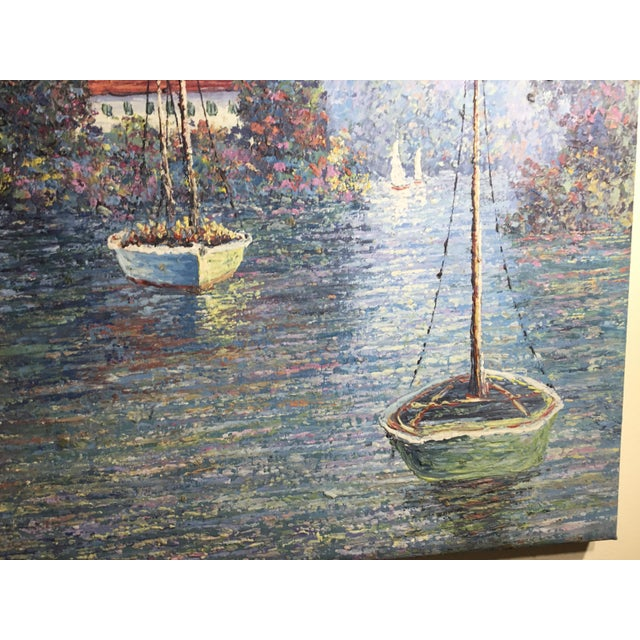 Paint Vintage Sailing Boats on the Lake Oil on Canvas Painting For Sale - Image 7 of 11
