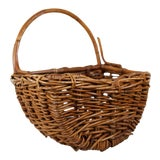 Image of Vintage Woven Wicker/Bamboo One-Armed Basket For Sale