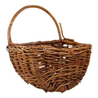Vintage Woven Wicker/Bamboo One-Armed Basket For Sale