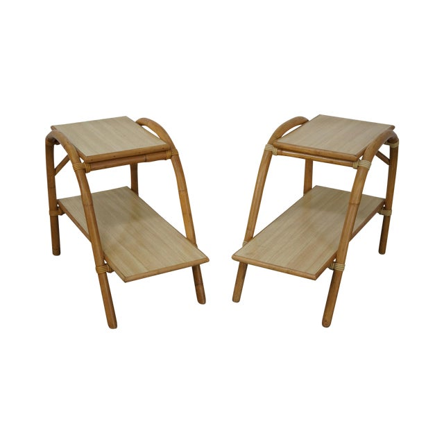 Vintage Vogue Rattan 2 Tier Side Tables - a Pair For Sale