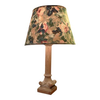 1930s French Column Shaped Wood Table Lamp With Shade For Sale