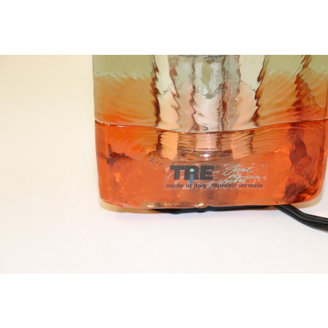 Orange Mid-Century Modern Murano Glass Table Lamp For Sale - Image 12 of 13