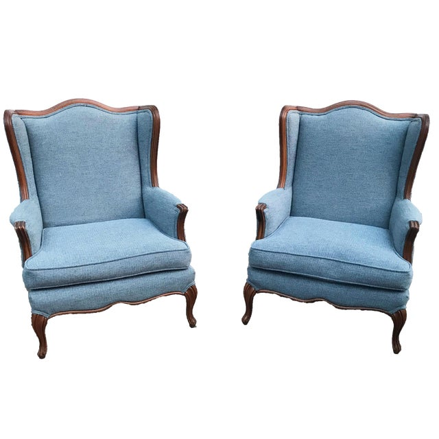 Vintage Light Blue Upholstered Bergere Chairs - A Pair - Image 1 of 10