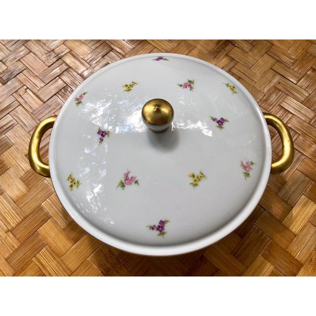 """Haviland """"Rose Chintz"""" Gilt Floral Porcelain Vegetable Tureen For Sale - Image 12 of 12"""