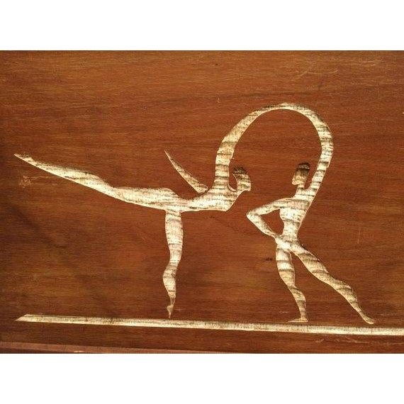 SOLD-Mid-Century Modern Carved Cork Wall Clock For Sale - Image 4 of 6