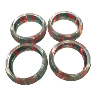 Mid-Century Clear Lucite Acrylic Napkin Rings - Set of 6 For Sale