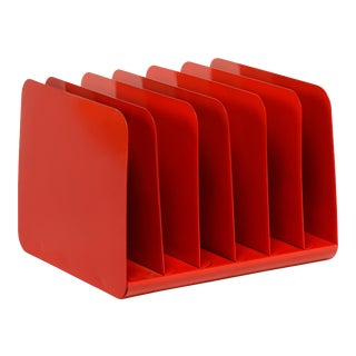 1960s Desktop File Organizer, Refinished in Red For Sale