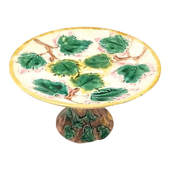 Antique Majolica Leaf Compote Dish For Sale