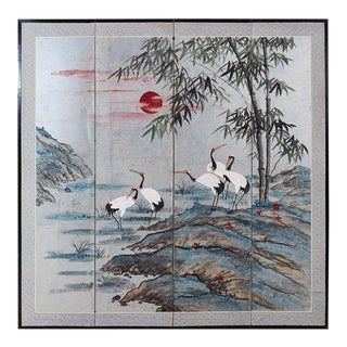 Japanese Four-Panel Kano School Manchurian Crane Screen For Sale