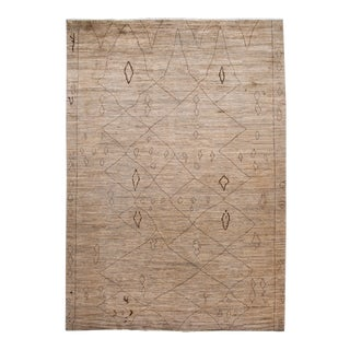 Large Modern Moroccan-Style Tribal Wool Rug 12 Ft 5 in X 17 Ft 7 In For Sale