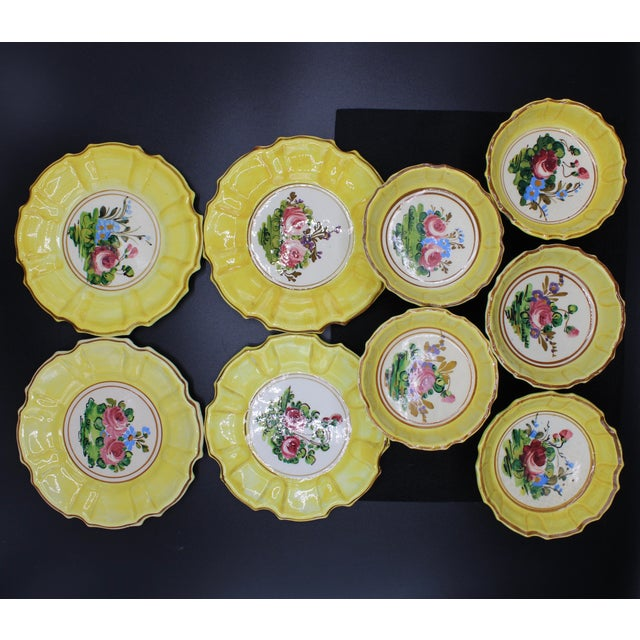 A unique set of lemon yellow dessert plates (4) and compotes (5). Perfect for ice cream and cookies! Each compote measures...