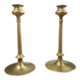 1940s Boho Chic Gold Metal Candle Sticks - a Pair