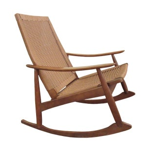 Mid-Century Modern Hans Wegner Style Rope Seat Rocking Chair