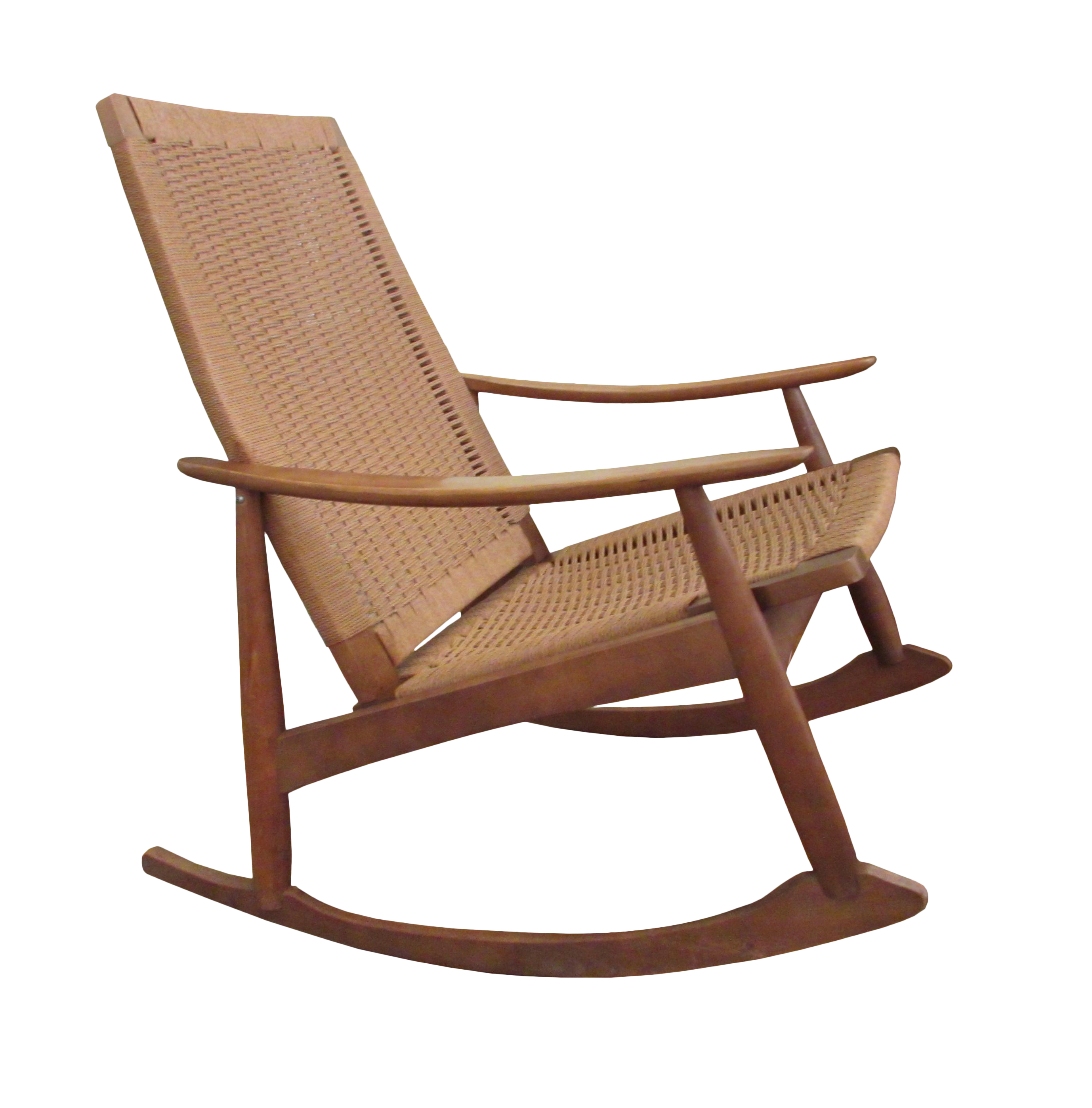 Mid Century Modern Hans Wegner Style Rope Seat Rocking Chair