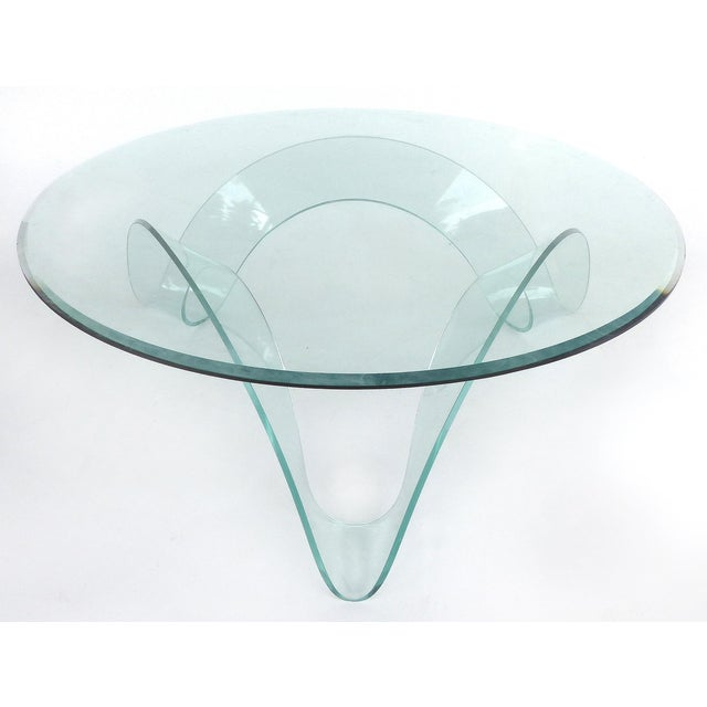 Italian Glass Coffee Table.Sculptural Italian Bent Glass Coffee Table By Fiam