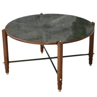 Leleu Decorateurs Beechwood and Eglomise Gueridon Cocktail Table For Sale