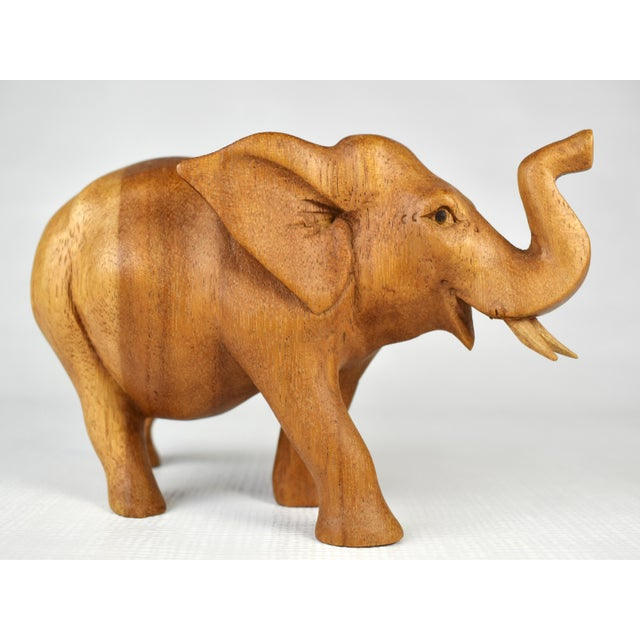 Mid-Century Modern Vintage Hand Carved Wooden Elephant Figurine For Sale - Image 3 of 7