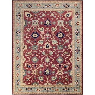 Kafkaz Peshawar Verna Red/Light Blue Wool Rug - 10'2 X 14'9 For Sale