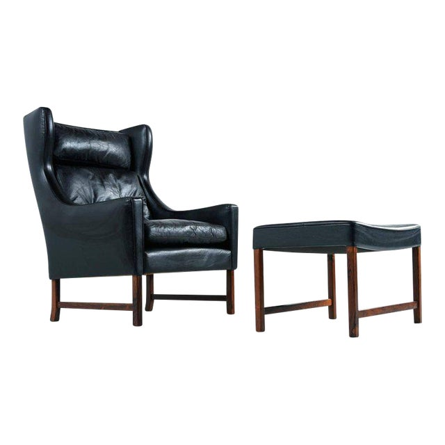 Borge Mogensen Style Black Leather & Rosewood Wingback Lounge Chair & Ottoman For Sale