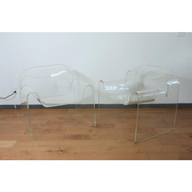 Italian Vintage Pair of Lucite Ribbon Style Lounge Chairs For Sale - Image 3 of 13