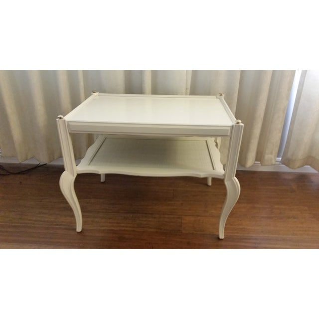 White Solid Wood & Cane Two-Tier End Table - Image 2 of 6