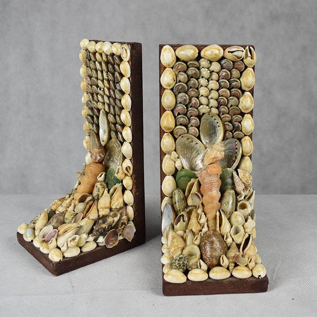 Tribal Shell Encrusted Bookends - a Pair For Sale - Image 3 of 9