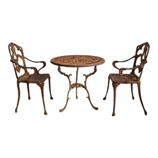 Vintage Cast Iron Bistro Set of Three For Sale