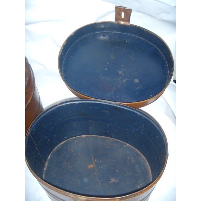 Vintage Tin English Hat Boxes - 2 For Sale - Image 4 of 7
