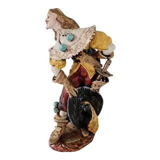 1920s Vintage A. Ciolli Italian Glazed Ceramic Musketeer Greeting Signed Figurine For Sale