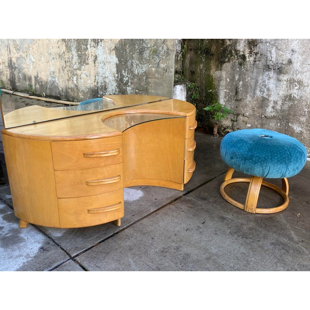 Wood Heywood WakeField Curved Vanity & Matching Stool - 2 Pieces For Sale - Image 7 of 11