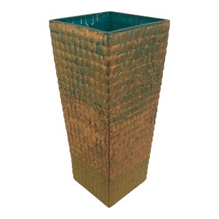 Contemporary Gold & Turquoise Vase For Sale