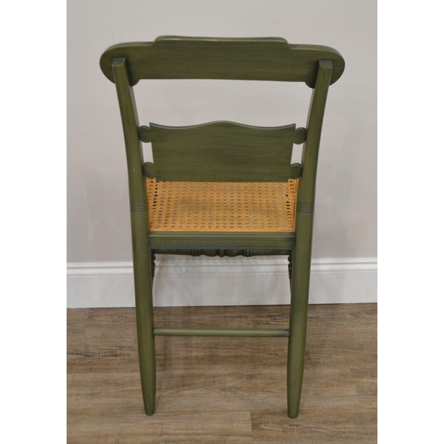 1970s Hitchcock Green Painted George Washington Mt Vernon Cane Seat Side Chair For Sale - Image 5 of 13