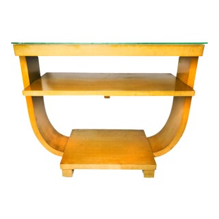 Vintage 1940s U Shaped Solid Wood Console Table For Sale